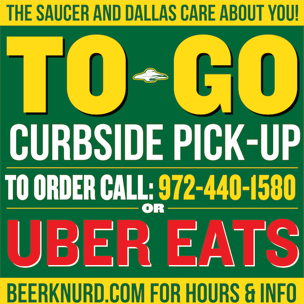 Beer to go in Coppell Irving Dallas Order on Uber Eats for food to go at Flying Saucer
